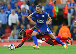 Daniel Drinkwater of Leicester City tackles Sadio Mane of Liverpool during the Premier League match at Anfield Stadium, Liverpool. Picture date: September 10th, 2016. Pic Simon Bellis/Sportimage