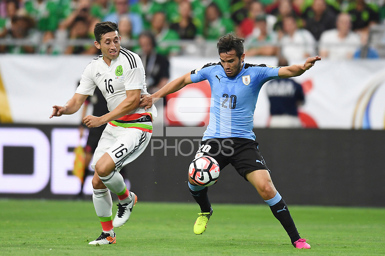 Action photo during the match Mexico vs Uruguay, Corresponding Group -C- America Cup Centenary 2016, at University of Phoenix Stadium<br /> <br /> Foto de accion durante el partido Mexico vs Uruguay, Correspondiante al Grupo -C-  de la Copa America Centenario USA 2016 en el Estadio de la Universidad de Phoenix, en la foto: (i-d) Hector Herrera de Mexico y Alvaro Gonzalez  de Uruguay<br /> <br /> <br /> 05/06/2016/MEXSPORT/Omar Martinez.