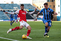 Fleetwood Town's Ched Evans competing with Gillingham's Darren Oldaker<br /> <br /> Photographer Andrew Kearns/CameraSport<br /> <br /> The EFL Sky Bet League One - Gillingham v Fleetwood Town - Saturday 3rd November 2018 - Priestfield Stadium - Gillingham<br /> <br /> World Copyright © 2018 CameraSport. All rights reserved. 43 Linden Ave. Countesthorpe. Leicester. England. LE8 5PG - Tel: +44 (0) 116 277 4147 - admin@camerasport.com - www.camerasport.com