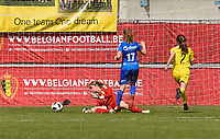 20190422 - Denderleeuw, BELGIUM : Yellow Flames Mirthe Claes (L) and Gaelle Neirynck (R) with Gent's Aline Bosteels (17) pictured during the final of the Under 16 Belgian Cup 2019, a soccer game between AA GENT Ladies B and The Yellow Flames1.0 , in the Van Roystadion in Denderleeuw , Monday 22 th April 2019  , PHOTO SPORTPIX.BE / DIRK VUYLSTEKE