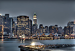 HDR of Manhattan's skyline in the evening, New York City.