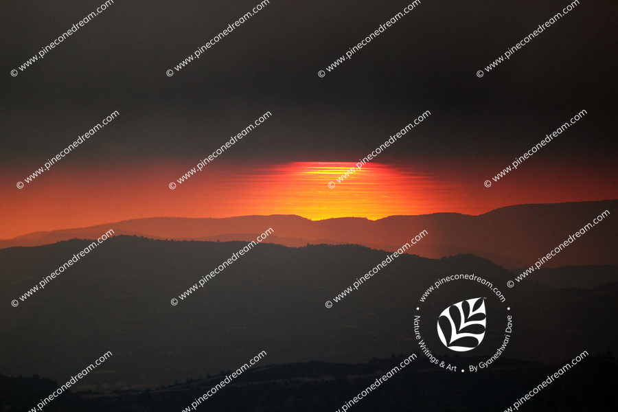 Beautiful sunset behind the north Cyprus hills - stock image.