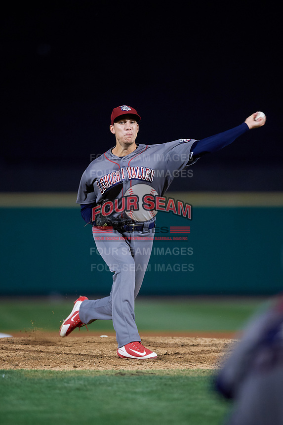 Lehigh Valley IronPigs relief pitcher Tom Windle (27) delivers a pitch during a game against the Rochester Red Wings on September 1, 2018 at Frontier Field in Rochester, New York.  Lehigh Valley defeated Rochester 2-1.  (Mike Janes/Four Seam Images)