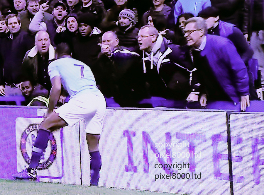 Chelsea v Man City<br /> Raheen Sterling seems to get racist abuse from Chelsea fans despite a black fan standing nearby<br /> <br /> <br /> <br /> <br /> Picture by Pixel8000 07917221968