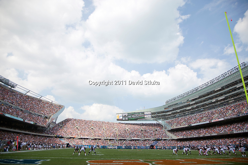 A general view of Soldier Field from field level during the Chicago Bears Week 1 NFL football game against the Atlanta Falcons on September 11, 2011 in Chicago. The Bears won 30-12. (AP Photo/David Stluka)