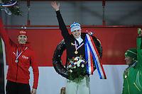 SCHAATSEN: IJsstadion Kardinge Groningen, NK Sprint Groningen 6-01- 2013, Margot Boer - Marrit Leenstra - Laurine van Riessen, ©foto Martin de Jong