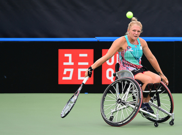 Jordanne Whiley (GBR) [3]  in action during the British Open UNIQLO Wheelchair Tennis Tour at Nottingham Tennis Centre.<br /> <br /> Picture: Chris Vaughan/James Jordan Photography/Tennis Foundation<br /> Date: July 29, 2016
