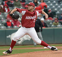 NWA Democrat-Gazette/ANDY SHUPE<br />Arkansas starter Kacey Murphy delivers to the plate Saturday, April 14, 2018, during the first inning against South Carolina at Baum Stadium. Visit nwadg.com/photos to see more photographs from the game.