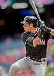 14 May 2016: Miami Marlins outfielder Christian Yelich at bat during the first game of a double-header against the Washington Nationals at Nationals Park in Washington, DC. The Nationals defeated the Marlins 6-4 in the afternoon matchup.  Mandatory Credit: Ed Wolfstein Photo *** RAW (NEF) Image File Available ***
