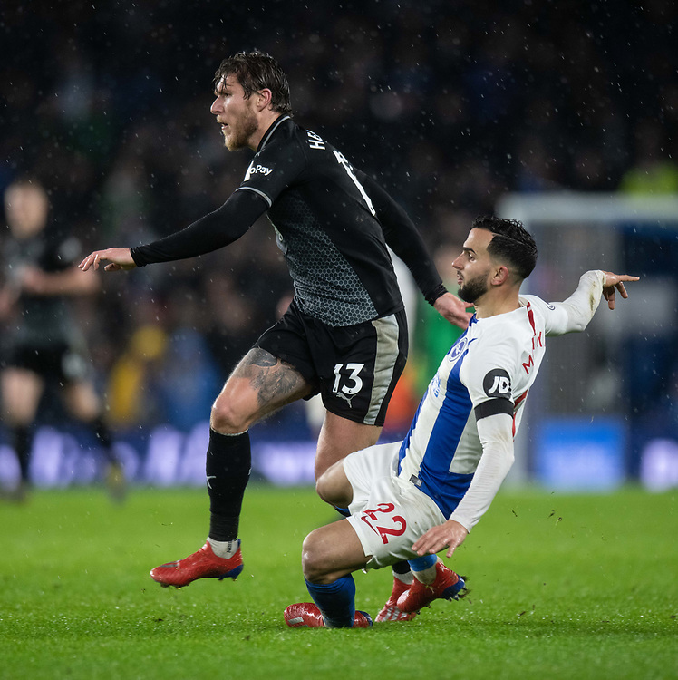 Burnley's Jeff Hendrick (left) is tackled by Brighton &amp; Hove Albion's Martin Montoya (right) <br /> <br /> Photographer David Horton/CameraSport<br /> <br /> The Premier League - Brighton and Hove Albion v Burnley - Saturday 9th February 2019 - The Amex Stadium - Brighton<br /> <br /> World Copyright &copy; 2019 CameraSport. All rights reserved. 43 Linden Ave. Countesthorpe. Leicester. England. LE8 5PG - Tel: +44 (0) 116 277 4147 - admin@camerasport.com - www.camerasport.com