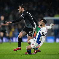Burnley's Jeff Hendrick (left) is tackled by Brighton & Hove Albion's Martin Montoya (right) <br /> <br /> Photographer David Horton/CameraSport<br /> <br /> The Premier League - Brighton and Hove Albion v Burnley - Saturday 9th February 2019 - The Amex Stadium - Brighton<br /> <br /> World Copyright © 2019 CameraSport. All rights reserved. 43 Linden Ave. Countesthorpe. Leicester. England. LE8 5PG - Tel: +44 (0) 116 277 4147 - admin@camerasport.com - www.camerasport.com