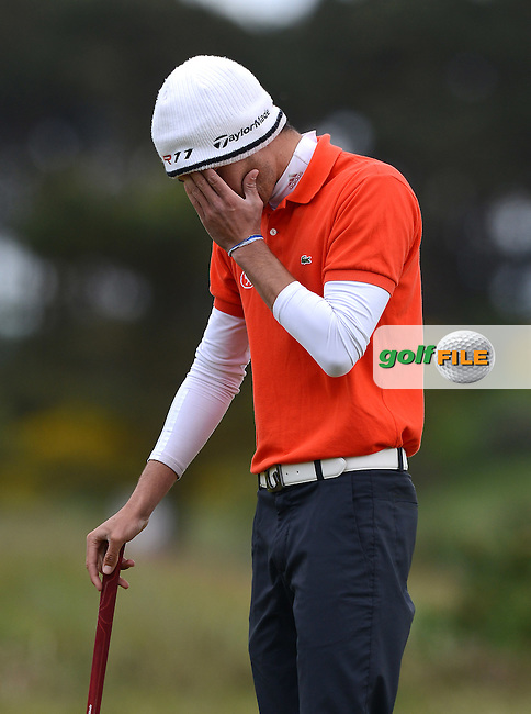 Alexandre Daydou of France reacts during the Semi-Finals of the 120th Amateur Championship at Carnoustie Golf Links, Carnoustie, Scotland. Picture: Golffile | Richard Martin Roberts<br /> All photo usage must carry mandatory copyright credit (&copy; Golffile | Richard Martin Roberts)
