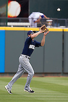 New Orleans Zephyrs outfielder Kevin Mattison #4 makes a catch against the Round Rock Express in the Pacific Coast League baseball game on April 21, 2013 at the Dell Diamond in Round Rock, Texas. Round Rock defeated New Orleans 7-1. (Andrew Woolley/Four Seam Images).