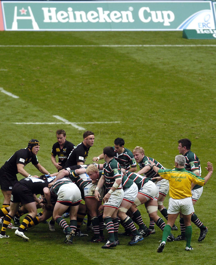 Photo: Jonathan Butler..London Wasps v Leicester Tigers. Heineken Cup Final. 20/05/2007..Leicester and Wasps pack down.
