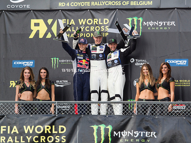 Johan Kristoffersson, PSRX Volkswagen, World RX Team Sweden broke Ekstrom's winning streak by taking the Belgium RX from Timmy Hansen, Team Peugeot-Hansen and team mate Petter Solberg, PSRX Volkswagen, World Team Sweden in third during WRX 2017 Round Four Race Day at Circuit Jules Tacheny on 14th May 2017