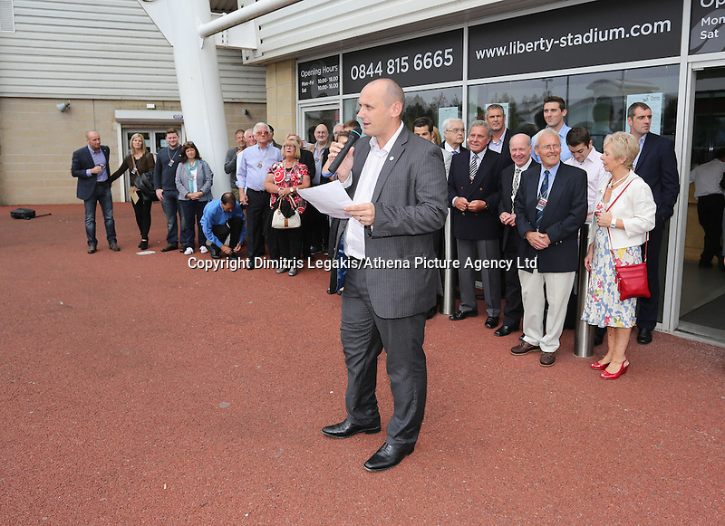 Pictured: Supporters Trust. Saturday 22 September 2014<br /> Re: Unveiling of plaques at the Robbie James Wall of Fame at the Liberty Stadium, Swansea, south Wales.