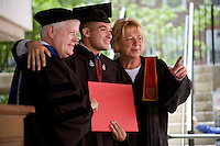 Nick Culbertson (center), of Dunhellen, New Jersey, poses for a picture with his diploma and Quincy House Masters Lee (left) and Deborah Gehrke at the Quincy House ceremony during Harvard University Commencement on May 26, 2011, in Cambridge, Massachusetts, USA.<br /> <br /> Photo: M. Scott Brauer for the Star-Ledger
