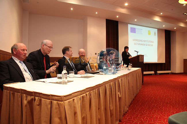At the Launch of the County Louth Peace and Reconciliation Partnership Action plan 2008-2010 Institutional Sectarianism and Racism, in the Crowne Plaza Hotel Dundalk..Sarah Mallon presenting the programe Findings..Picture Fran Caffrey/Newsfile.ie