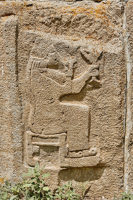 Pictures & Images Hittite relief sculpted orthostat panels of the Sphinx Gate. Panel depicts a lion god. Alaca Hoyuk (Alacahoyuk) Hittite archaeological site  Alaca, Çorum Province, Turkey, Also known as Alacahüyük, Aladja-Hoyuk, Euyuk, or Evuk