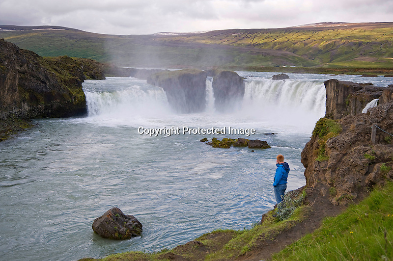 View of Godafoss Waterfall in North Iceland