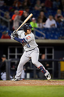 Lake County Captains designated hitter Li-Jen Chu (13) at bat during a game against the Quad Cities River Bandits on May 6, 2017 at Modern Woodmen Park in Davenport, Iowa.  Lake County defeated Quad Cities 13-3.  (Mike Janes/Four Seam Images)