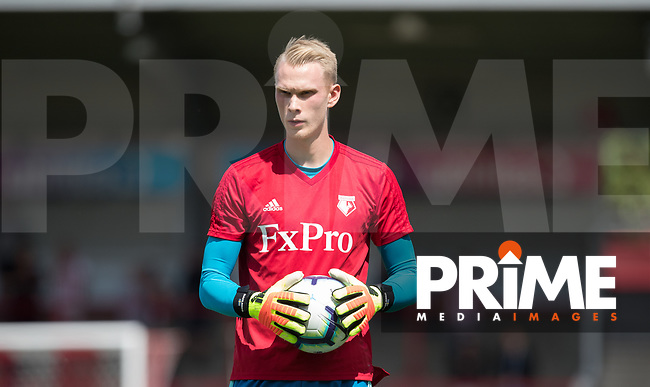 Goalkeeper Pontus Dahlberg of Watford pre match during the 2018/19 Pre Season Friendly match between Brentford and Watford at Griffin Park, London, England on 28 July 2018. Photo by Andy Rowland.