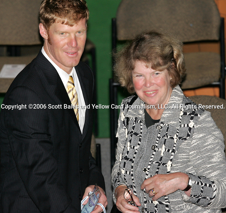 28 August 2006: Inductee Alexi Lalas (left) with his mother. The National Soccer Hall of Fame Induction Ceremony was held at the National Soccer Hall of Fame in Oneonta, New York.