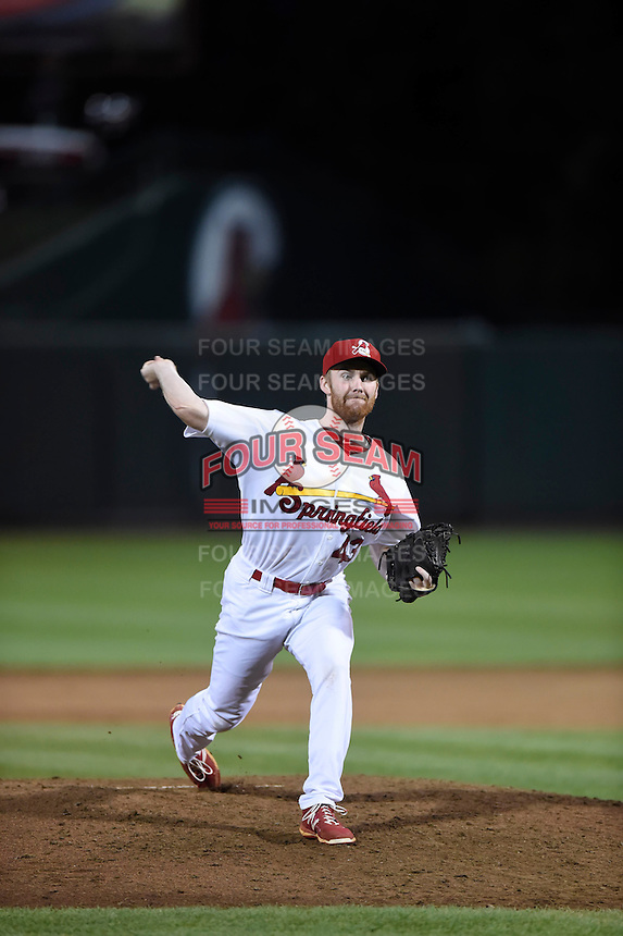***Temporary Unedited Reference File***Springfield Cardinals relief pitcher John Brebbia (43) during a game against the Northwest Arkansas Naturals on April 26, 2016 at Hammons Field in Springfield, Missouri.  Northwest Arkansas defeated Springfield 5-2.  (Mike Janes/Four Seam Images)
