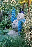 Stone snowman, Roger Raiche Berkeley Maybeck Cottage garden