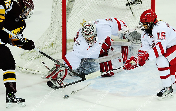 Badgers goaltender Alex Rigsby and defender Saige Pacholok (16) struggle to keep the puck out of the net from a shot by Bulldogs' Jamie Kenyon in the first period on Saturday, as the Wisconsin women's hockey team tops Minnesota-Duluth 2-1 to advance to the Frozen Four on 3/12/11 at the Kohl Center in Madison, Wisconsin