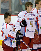 Maxim Chudinov (Russia - 27), Dmitry Kostromitin (Russia - 4) - Team USA defeated Team Russia 6-0 in their final game during the 2009 USA Hockey National Junior Evaluation Camp on Saturday, August 15, 2009, in the USA (NHL-sized) Rink in Lake Placid, New York.