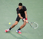 Novak Djokovic (SRB) wins in the semifinals at the Sony Ericsson Open in Key Biscayne, Florida on March 30, 2012