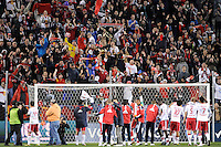 Members of the New York Red Bulls  salute the fans after the game. The New York Red Bulls defeated the New England Revolution 2-0 during a Major League Soccer (MLS) match at Red Bull Arena in Harrison, NJ, on October 21, 2010.