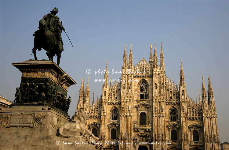 Statue outside the Duomo di Milano, Milan, Italy.