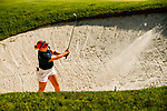 STILLWATER, OK - MAY 23: Sandra Nordaas of Arizona chips onto the green from a bunker on the 9th green during the Division I Women's Golf Team Match Play Championship held at the Karsten Creek Golf Club on May 23, 2018 in Stillwater, Oklahoma. (Photo by Shane Bevel/NCAA Photos via Getty Images)