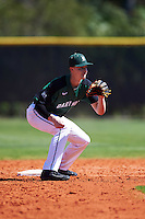 Dartmouth Big Green second baseman Dustin Shirley (6) waits for a throw during a game against the Eastern Michigan Eagles on February 25, 2017 at North Charlotte Regional Park in Port Charlotte, Florida.  Dartmouth defeated Eastern Michigan 8-4.  (Mike Janes/Four Seam Images)