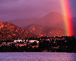 morning rainbow near the Historic Stanley Hotel, Estes Park, Colorado, Rocky Mountains, USA