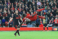 11th March 2020; Anfield, Liverpool, Merseyside, England; UEFA Champions League, Liverpool versus Atletico Madrid;  Sadio Mane of Liverpool attempts an overhead shot at goal but sees his effort fly high of the Atletico crossbar