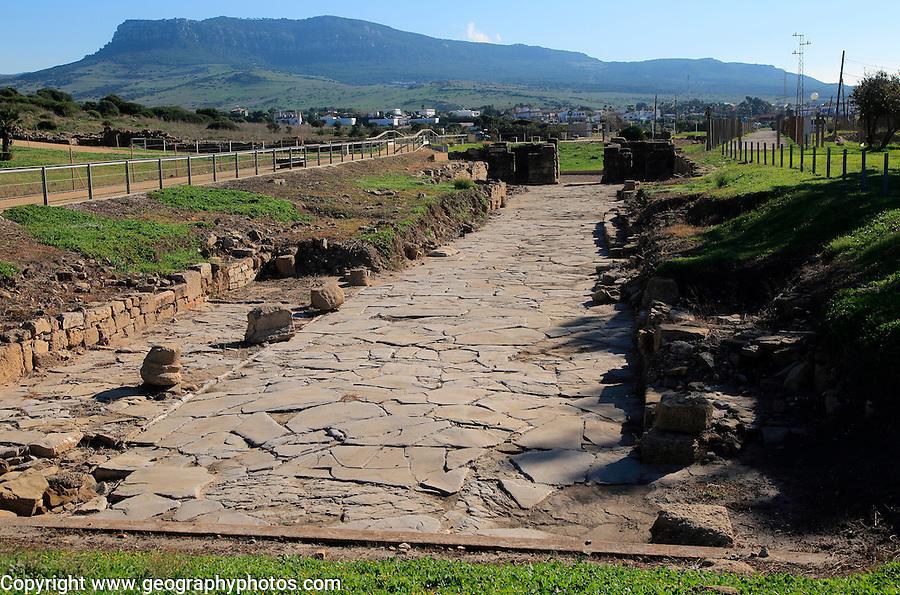 Paved main street in Baelo Claudia Roman site, Cadiz Province, Spain