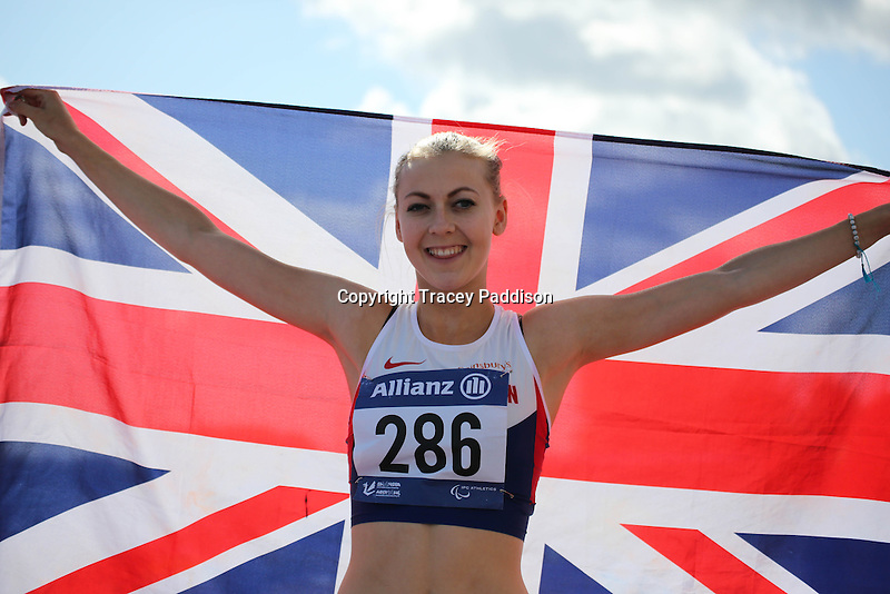 Wednesday August 20, 2014 <br /> Picture: Erin McBride<br /> RE: Team GB's Erin McBride wins Women's 100mm T13 final at the 2014 IPC Athletics European Championships at Swansea University International Sports Village.