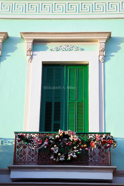 A colorful balcony decorated for the winter holidays across from the Plaza Las Delicias in Ponce, Puerto Rico on 2nd January 2012.