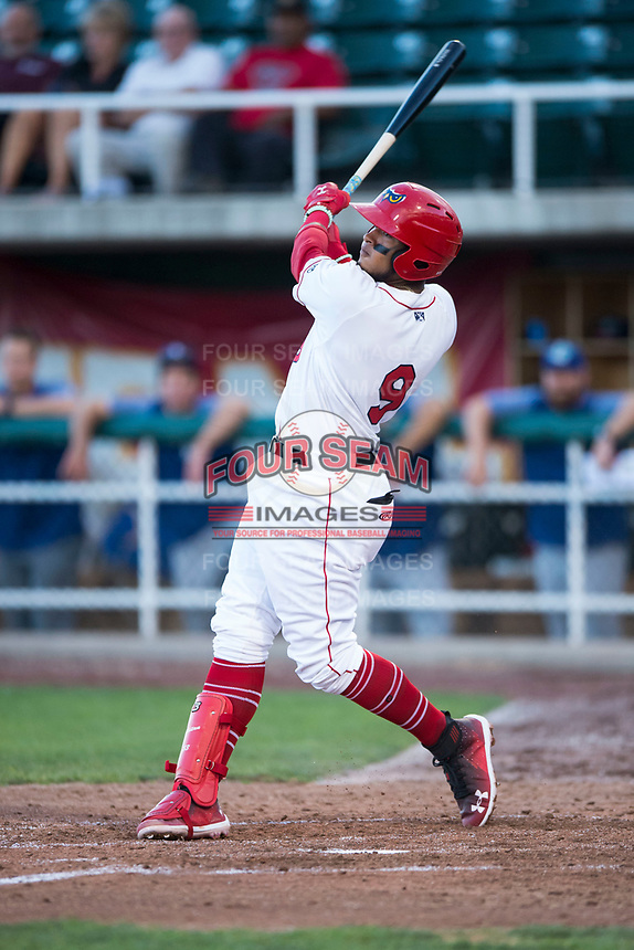 Orem Owlz third baseman Kevin Maitan (9) follows through on his swing during a Pioneer League game against the Ogden Raptors at Home of the OWLZ on August 24, 2018 in Orem, Utah. The Ogden Raptors defeated the Orem Owlz by a score of 13-5. (Zachary Lucy/Four Seam Images)