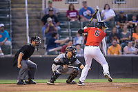 Antonio Rodriguez (6) of the Kannapolis Intimidators at bat against the West Virginia Power at Kannapolis Intimidators Stadium on August 20, 2016 in Kannapolis, North Carolina.  The Intimidators defeated the Power 4-0.  (Brian Westerholt/Four Seam Images)