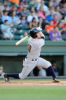 Third baseman Ryan Lindemuth (10) of the Charleston RiverDogs bats in a game against the Greenville Drive on Saturday, May 23, 2015, at Fluor Field at the West End in Greenville, South Carolina. Charleston won 5-4. (Tom Priddy/Four Seam Images)