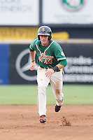 Justin Bohn (14) of the Greensboro Grasshoppers hustles towards third base against the Hagerstown Suns at NewBridge Bank Park on May 20, 2014 in Greensboro, North Carolina.  The Grasshoppers defeated the Suns 5-4. (Brian Westerholt/Four Seam Images)