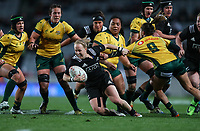 Kendra Cocksedge in action during the Laurie O'Reilly Memorial Trophy international women's rugby match between the New Zealand Black Ferns and Australia Wallaroos at Eden Park in Auckland, New Zealand on Saturday 25 August 2018. Photo: Simon Watts / lintottphoto.co.nz