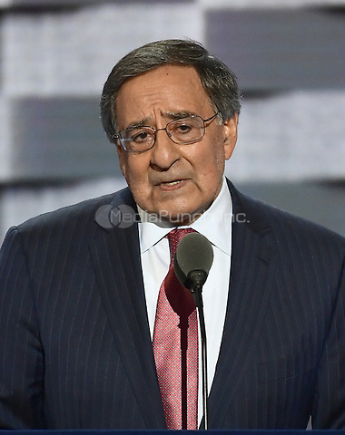 Former United States Secretary of Defense Leon Pancetta makes remarks during the third session of the 2016 Democratic National Convention at the Wells Fargo Center in Philadelphia, Pennsylvania on Wednesday, July 27, 2016.<br /> Credit: Ron Sachs / CNP/MediaPunch<br /> (RESTRICTION: NO New York or New Jersey Newspapers or newspapers within a 75 mile radius of New York City)
