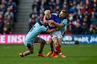 8th March 2020; Murrayfield Stadium, Edinburgh, Scotland; International Six Nations Rugby, Scotland versus France; Matthieu Jalibert of France is tackled by Jamie Ritchie of Scotland