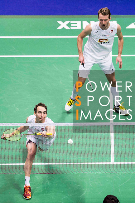 Mathias Boe and Carsten Mogensen of Denmark compete against Takeshi Kamura and Keigo Sonoda of Japan during their Men's Doubles Final of YONEX-SUNRISE Hong Kong Open Badminton Championships 2016 at the Hong Kong Coliseum on 27 November 2016 in Hong Kong, China. Photo by Marcio Rodrigo Machado / Power Sport Images