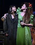 """Eva Noblezada and Amber Gray during the Broadway Press Performance Preview of """"Hadestown""""  at the Walter Kerr Theatre on March 18, 2019 in New York City."""